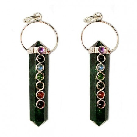 Chakra Double Point Green Jade Pendants