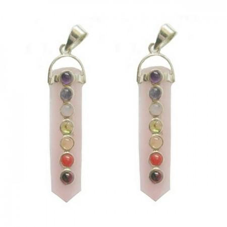 Chakra Rose Quartz Crystal Pendants