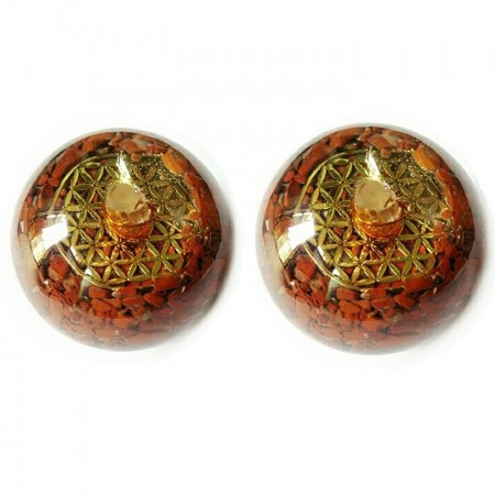 flower of life orgone spheres-ball red jasper with crystal point and flower of life