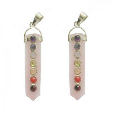 Chakra Rose Quartz Crystal Pendants