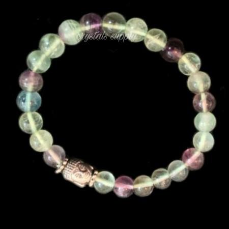 Buddha Fluorite Gemstone Bracelet - Yoga Bracelet - Gemstone Jewelry - Buddhist Bracelet