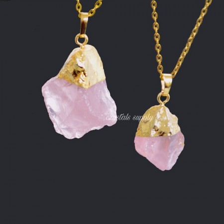 Rose Quartz Raw Pendants - Gemstone Raw Pendants