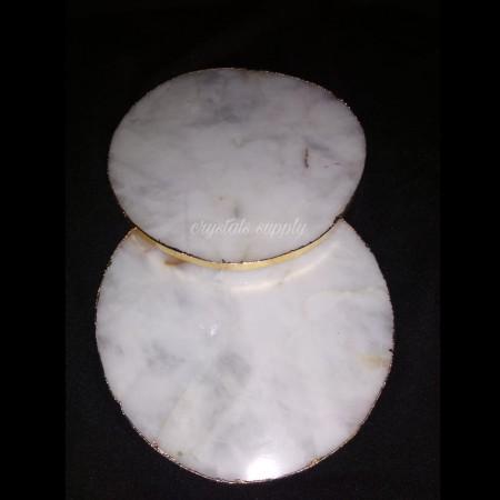 Beautiful Natural White Quartz Coaster with Gold Edge